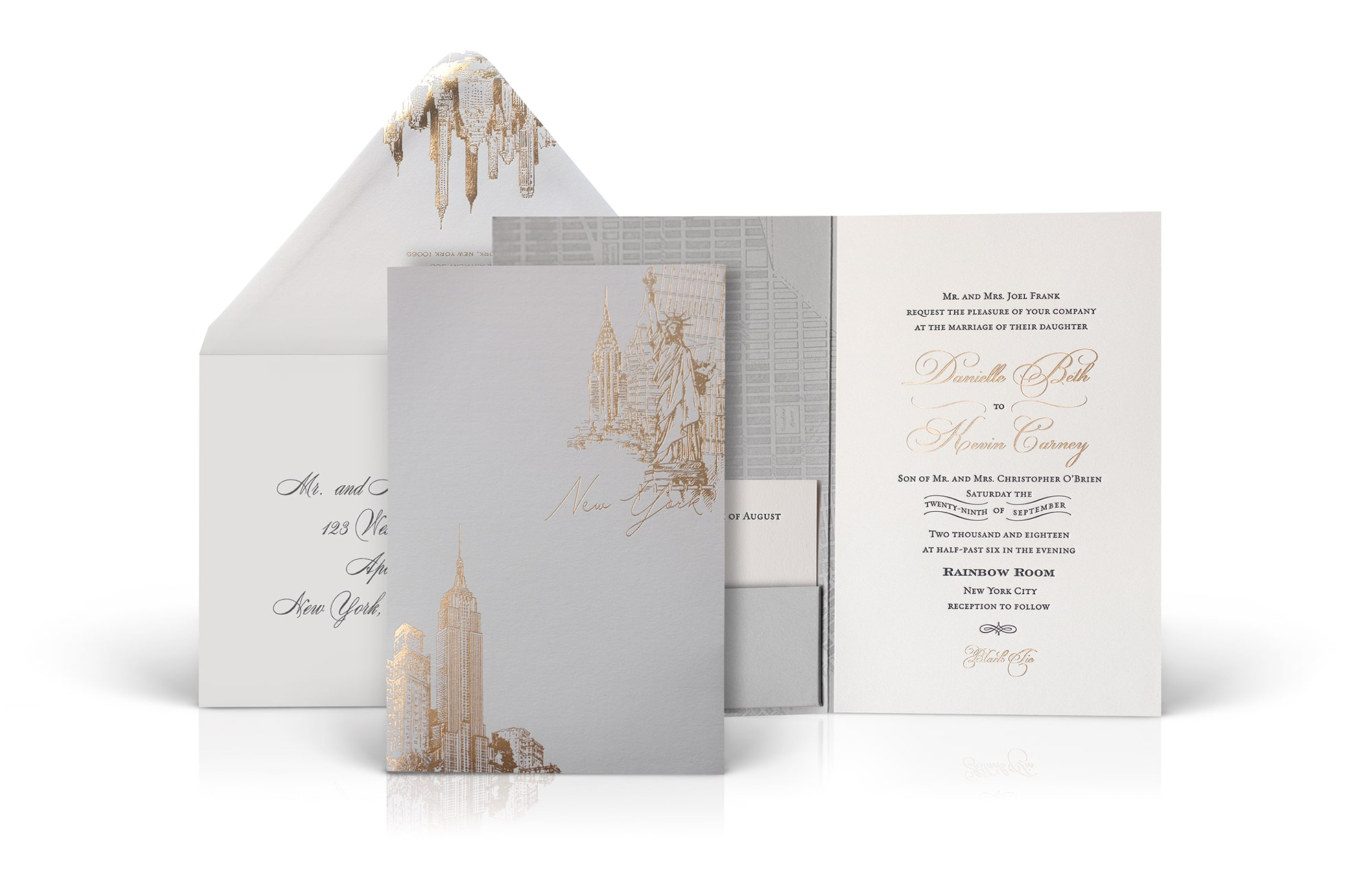 NYC Rainbow Room wedding invitation