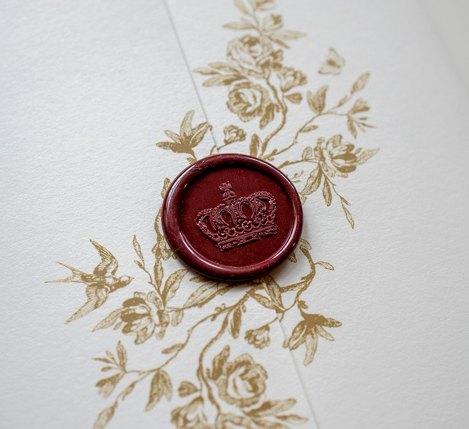 Wine red wax seal with a crown