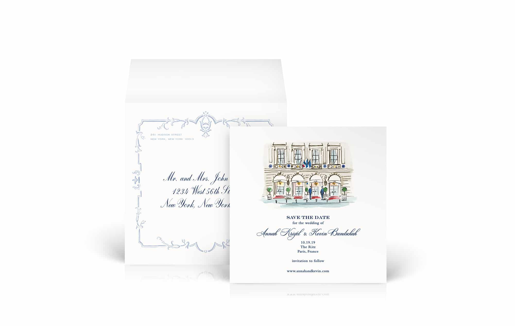 Elegant Paris Illustrated Save the Date