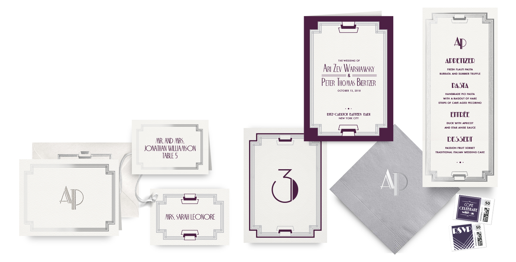 Modern Deco menus, programs and wedding accessories