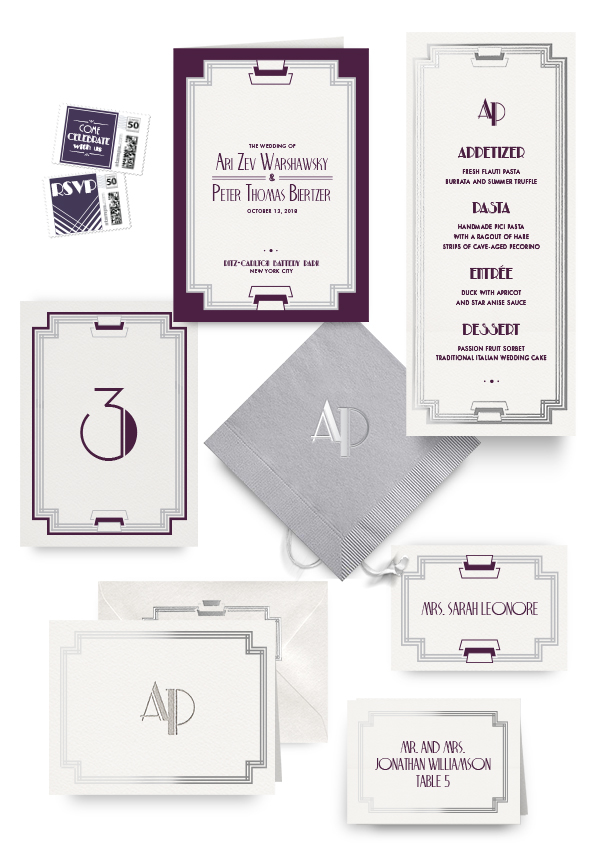 Modern Deco napkins, table cards, escort and place cards