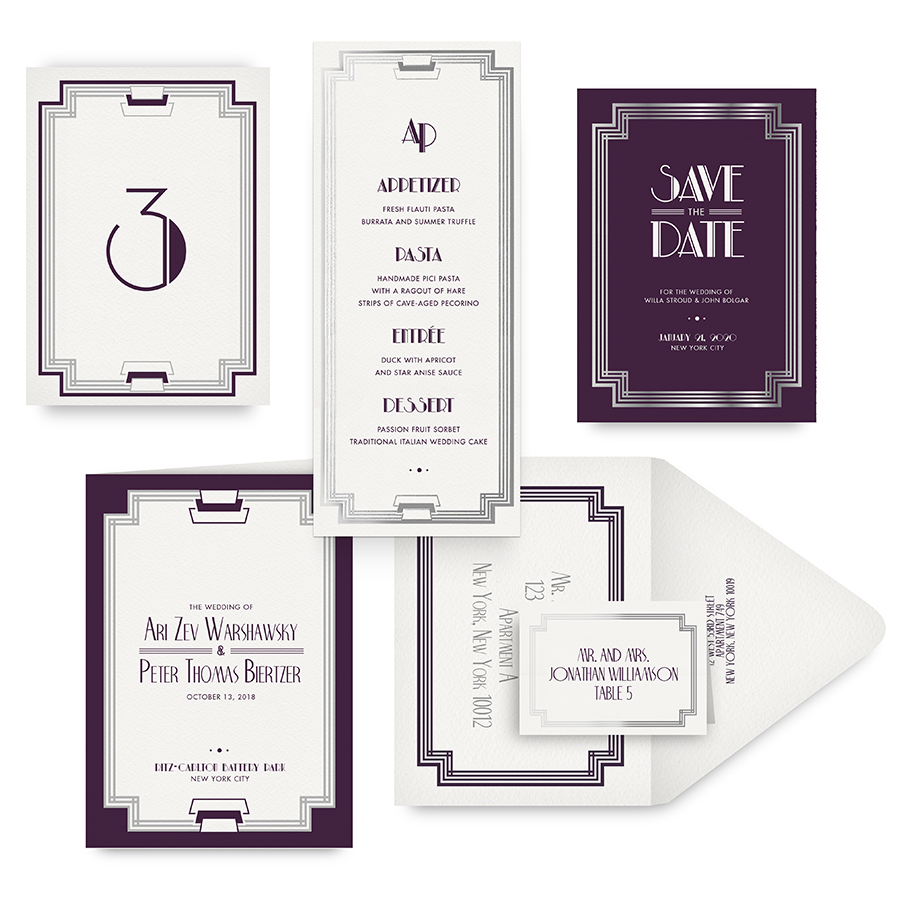 Modern Deco save the date, menu, program and wedding accessories