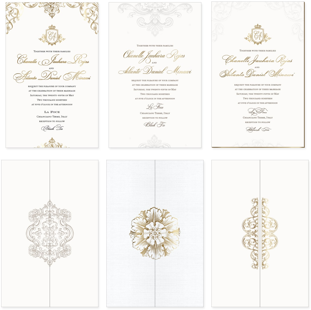 Ornate wedding invitations and wraps