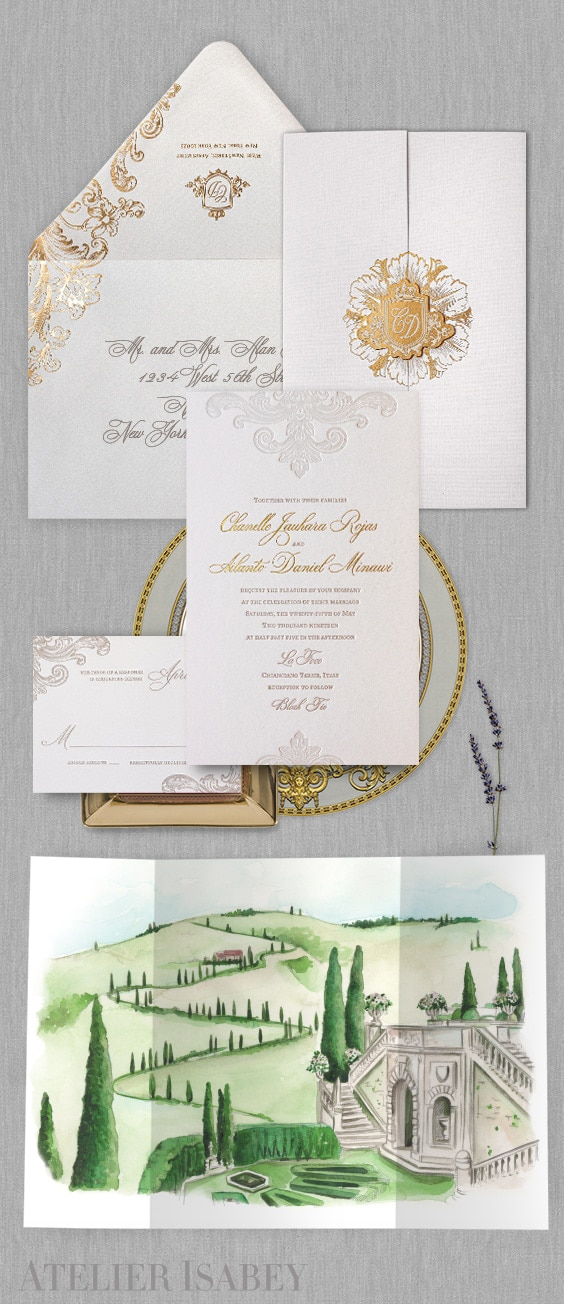 Tuscany wedding invitation with watercolor illustration