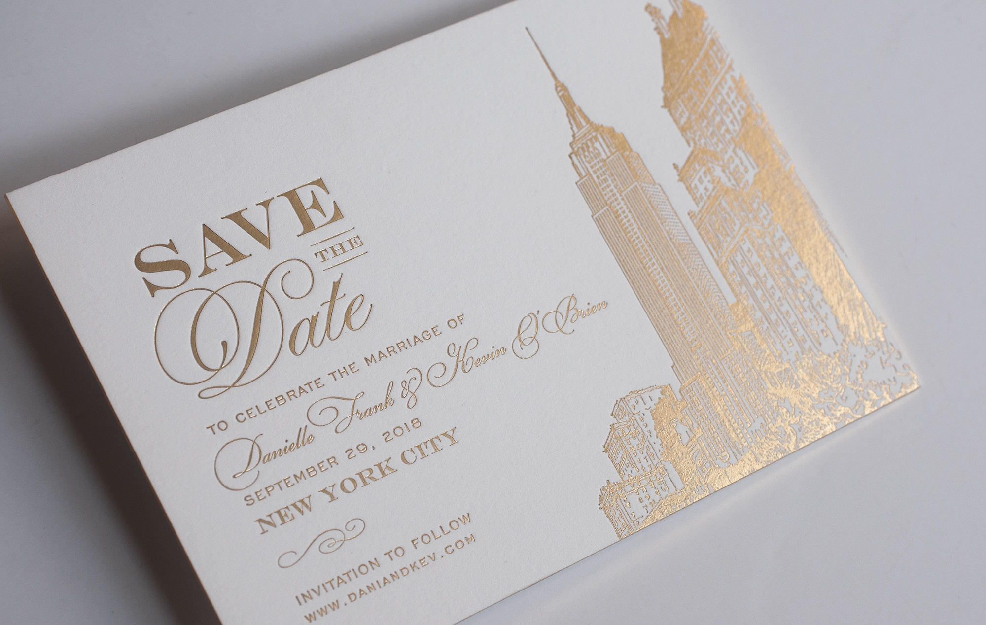 Gold Foil NYC Save the Date