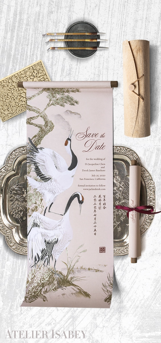 Chinese Scroll Save the Date