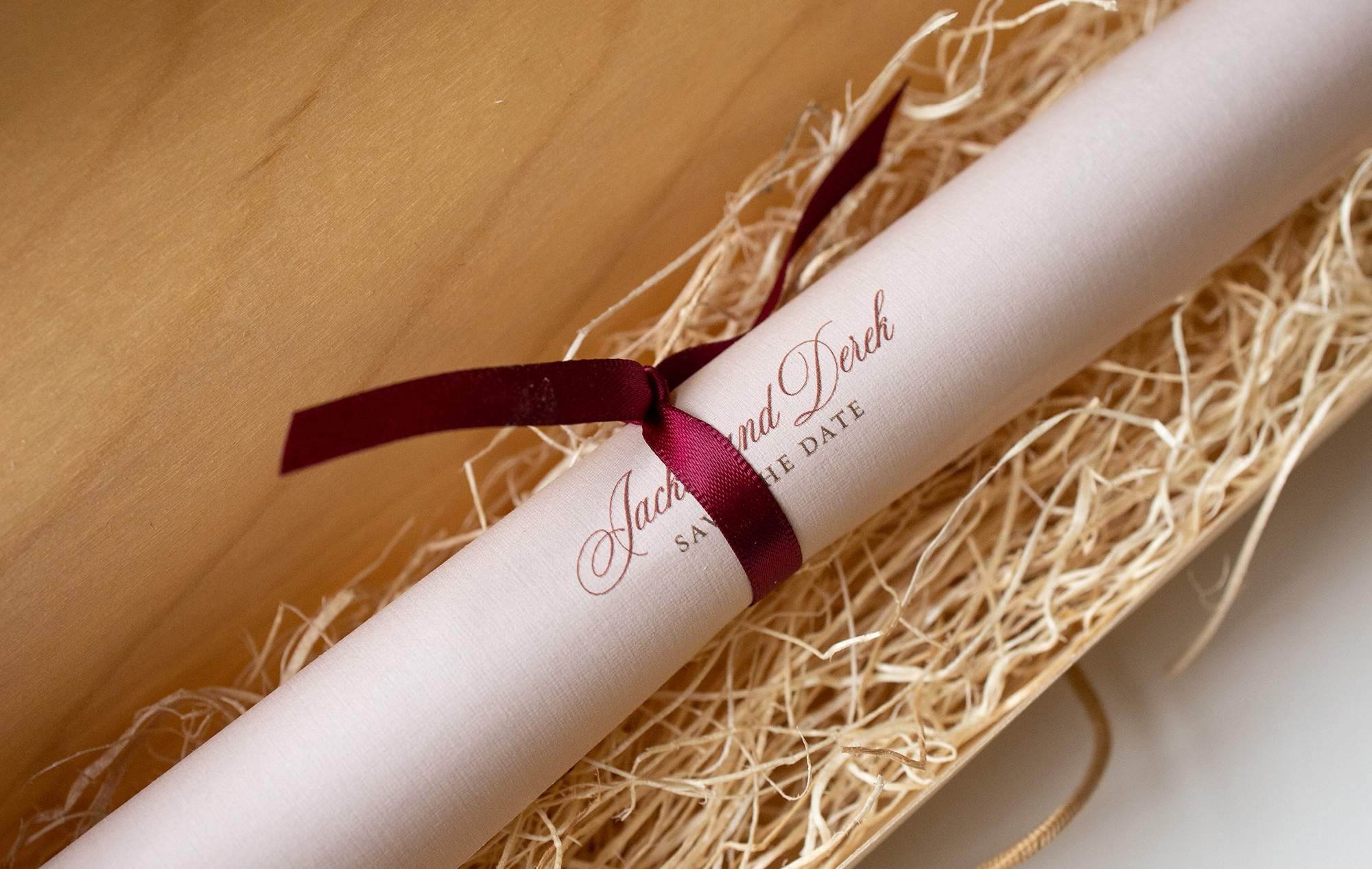 Scroll with satin ribbon