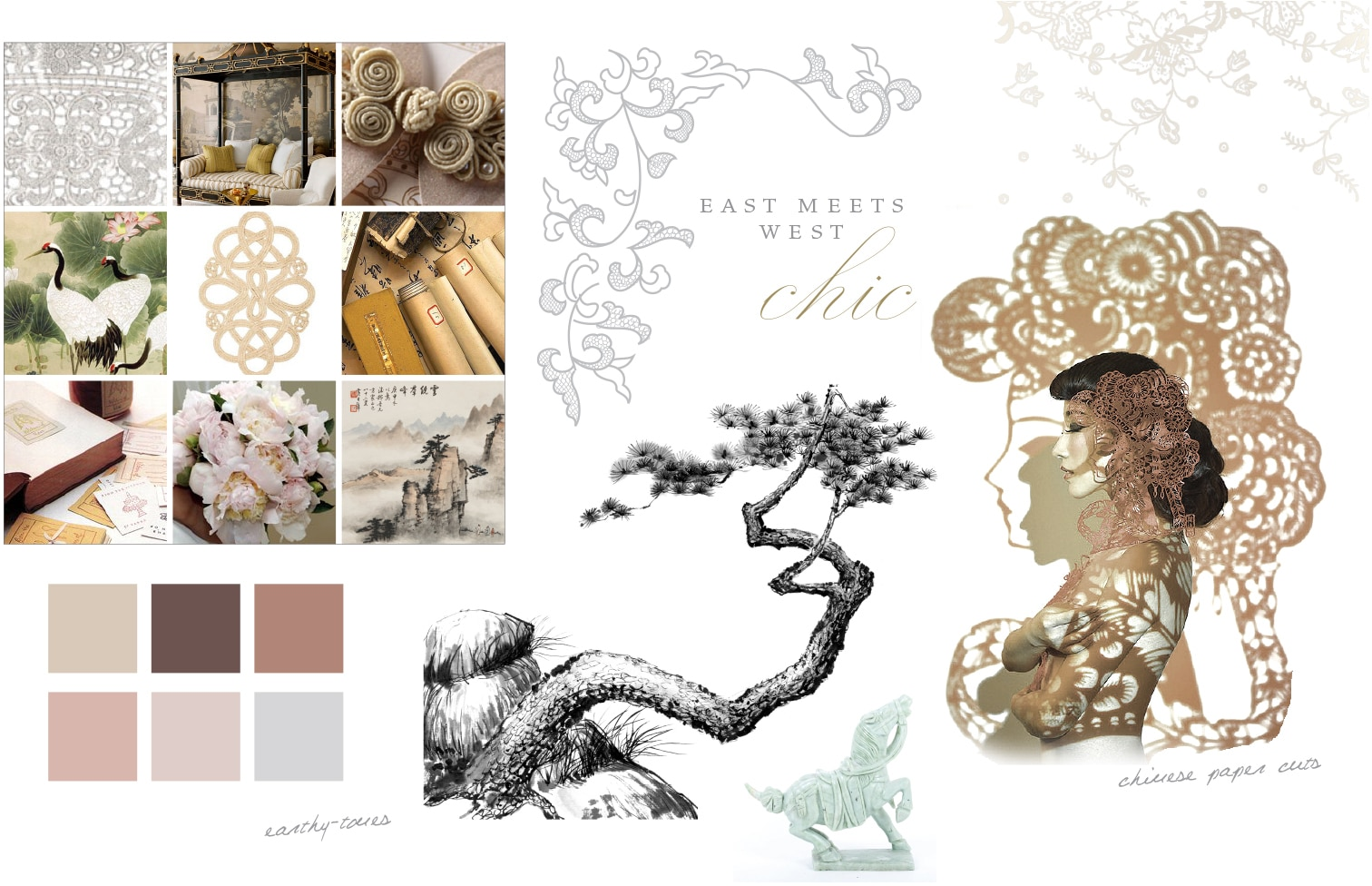 East meets West chic Moodboard