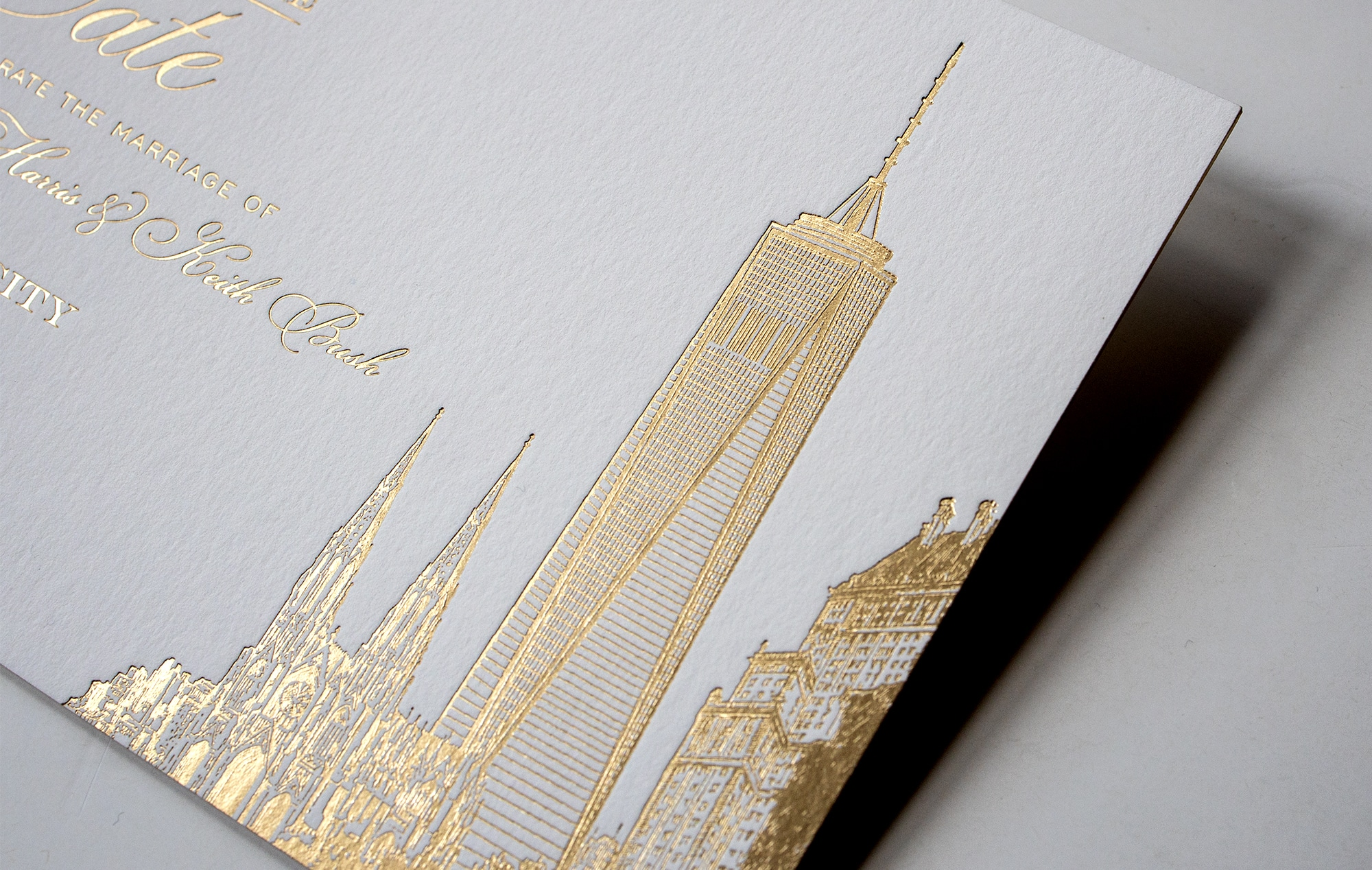 Gold foil illustration of One World Trade Center