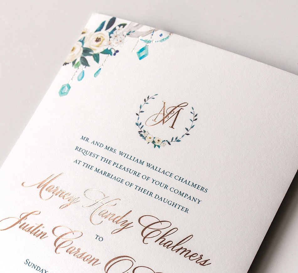 Teal and rose gold invitation detail