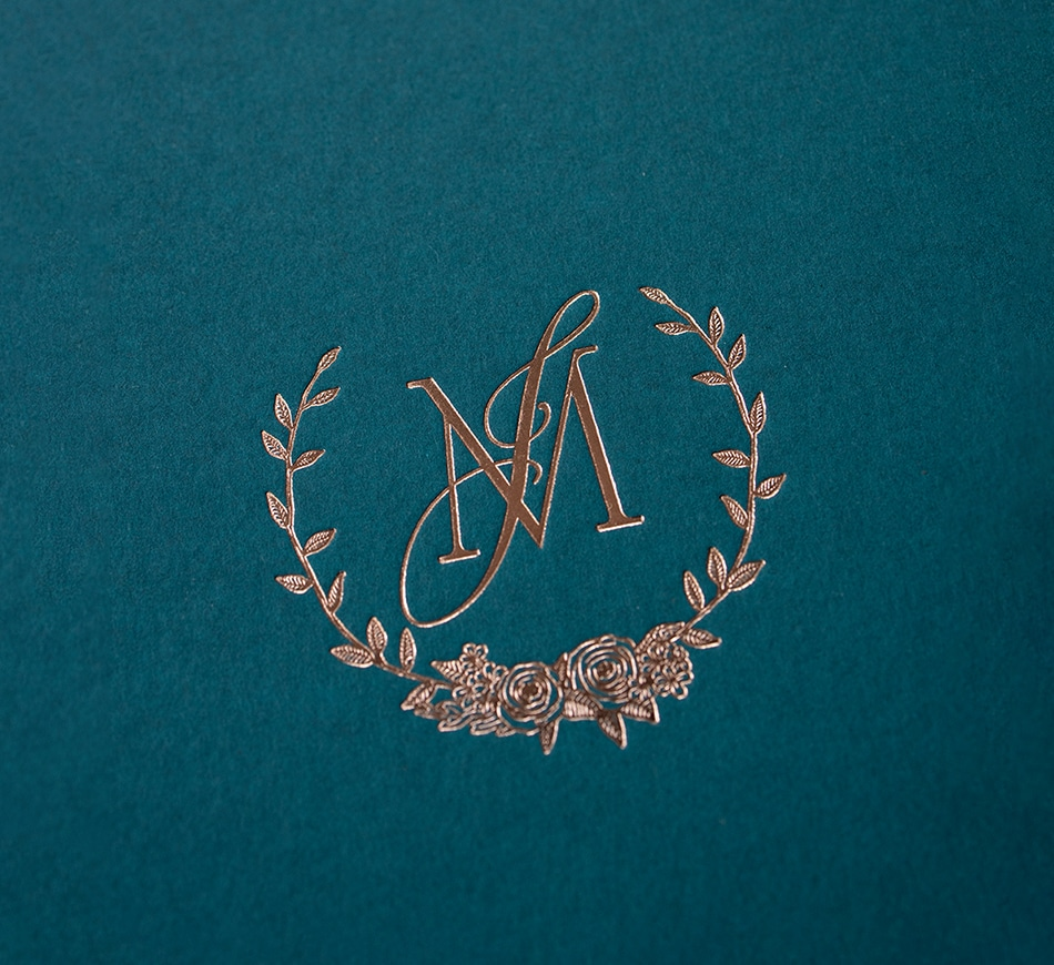 Rose gold foil monogram