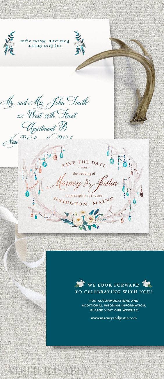 Rustic meets floral watercolor save the date with rose gold foil | By Atelier Isabey