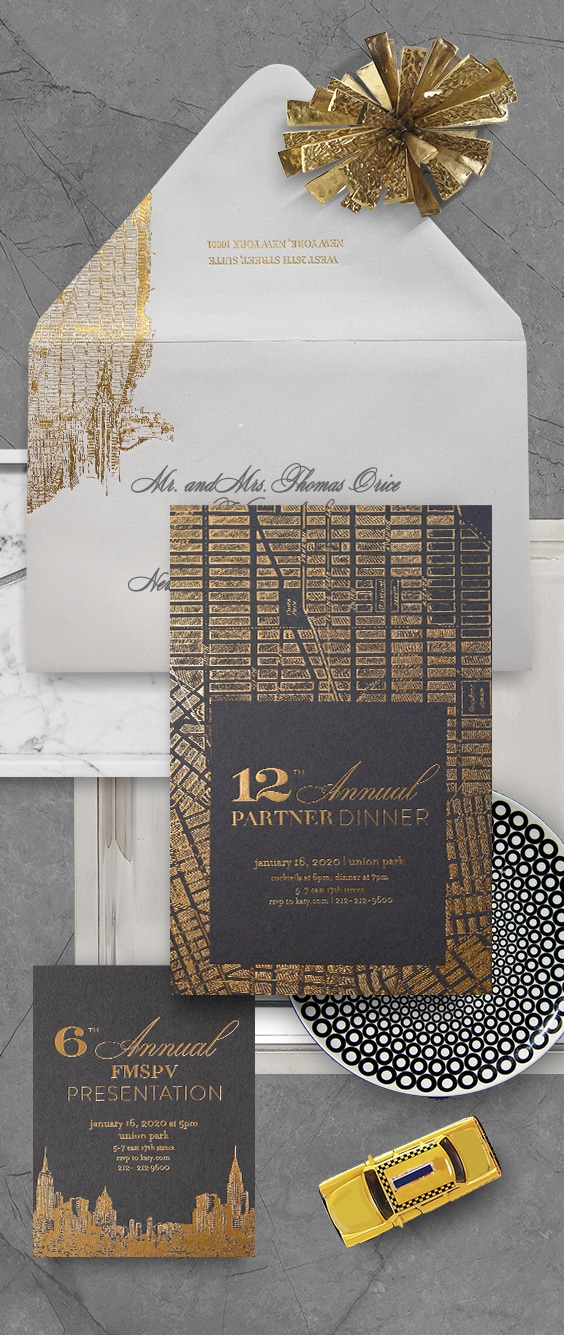 New York City inspired event invitations with gold foil on charcoal paper | By Atelier Isabey