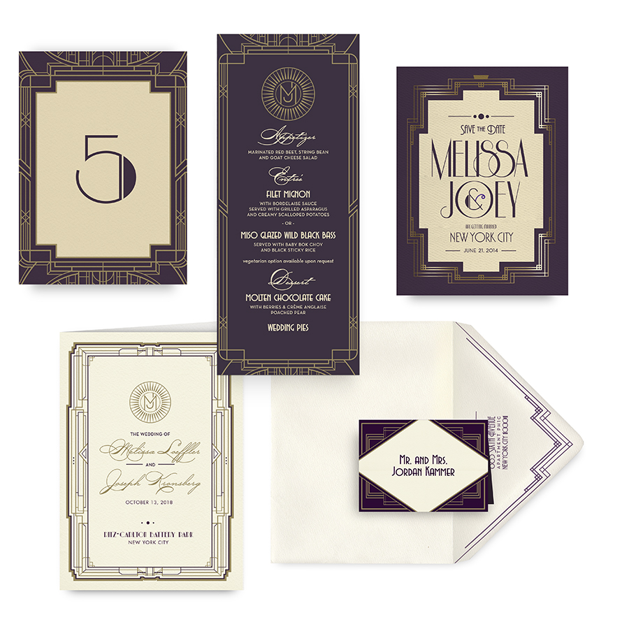1920s Deco save the date, menu, program and wedding accessories