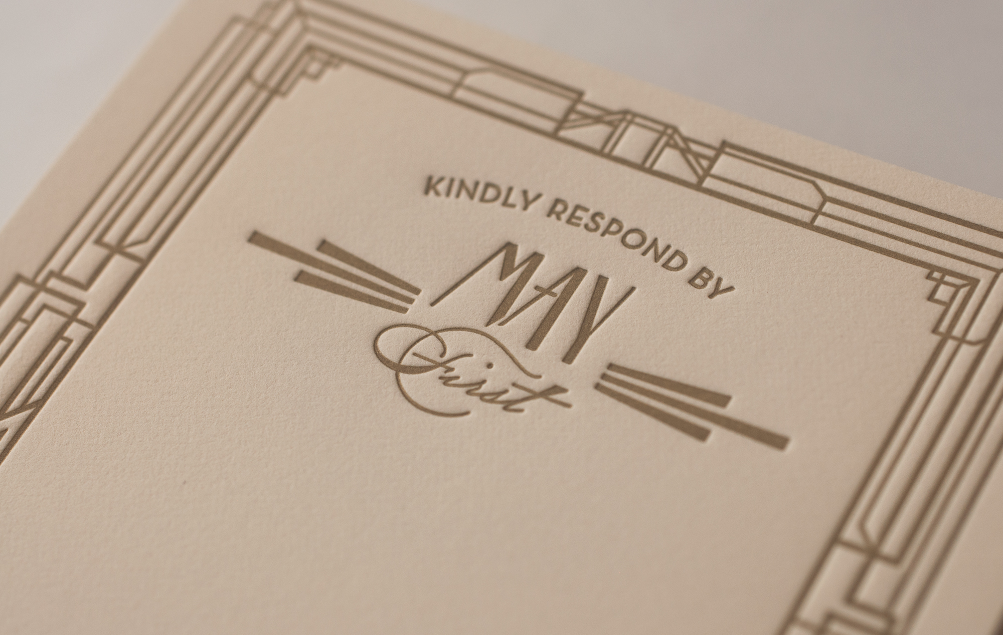Art Deco reply card typography