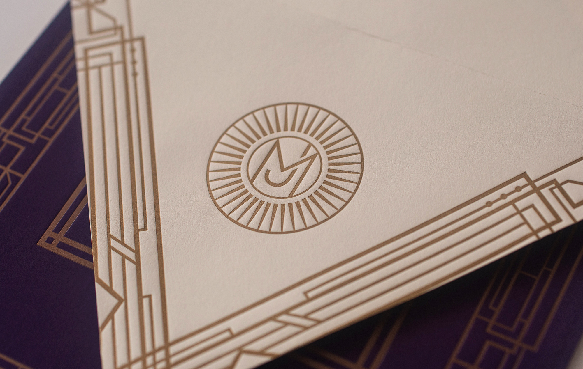 Deco letterpress envelope detail