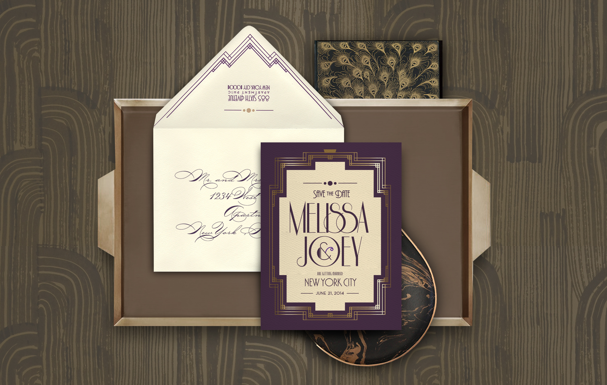1920s purple and gold Art Deco Save the Date