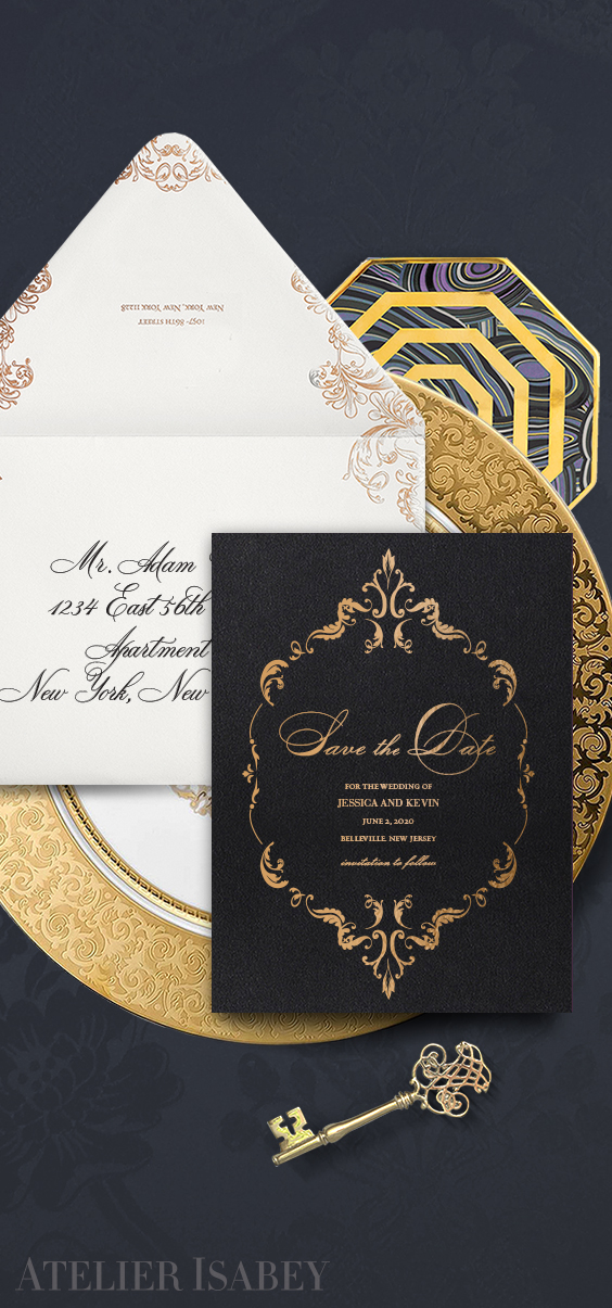 Ornate black and gold save the date