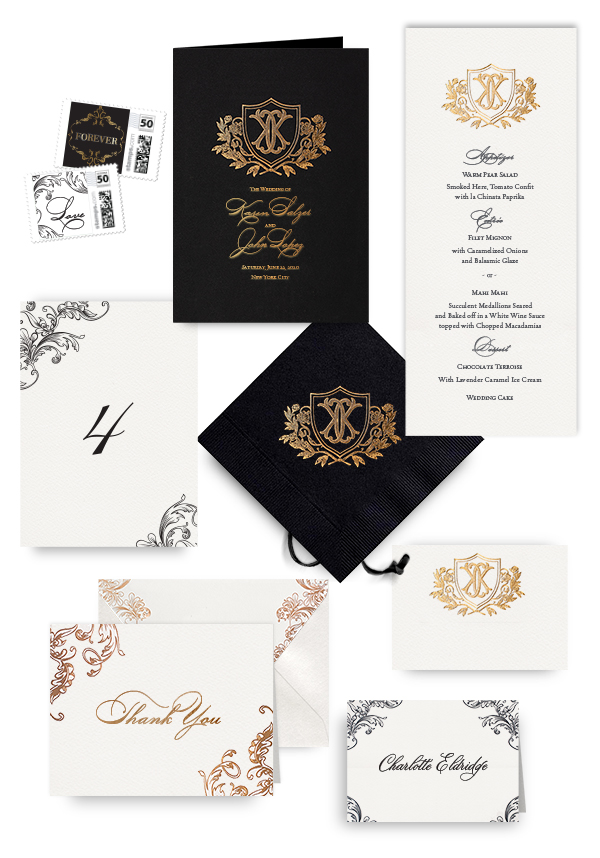 Ornate gold napkins, table cards, escort and place cards