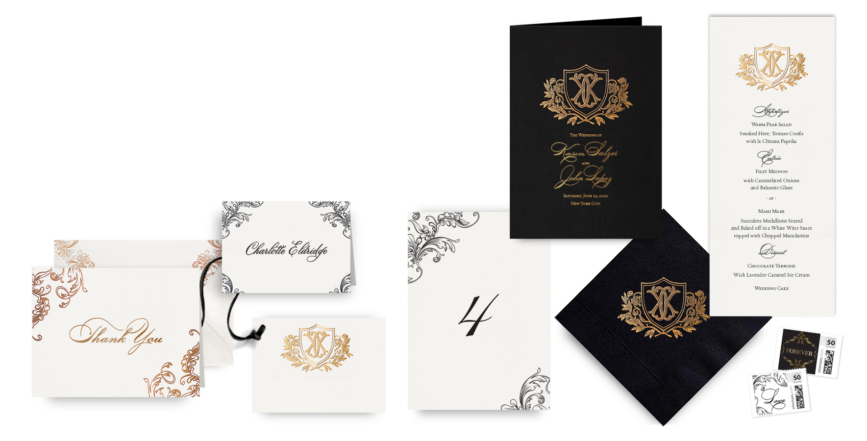 Ornate gold menus, programs and wedding accessories