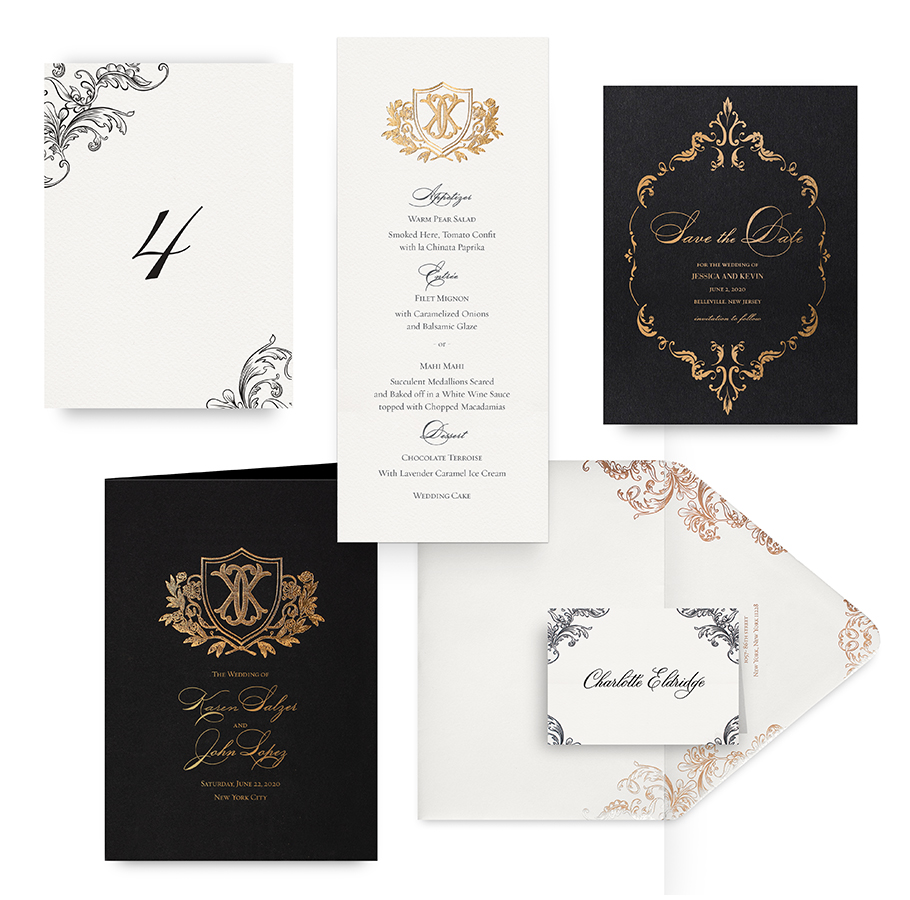 Ornate black and gold wedding accessories