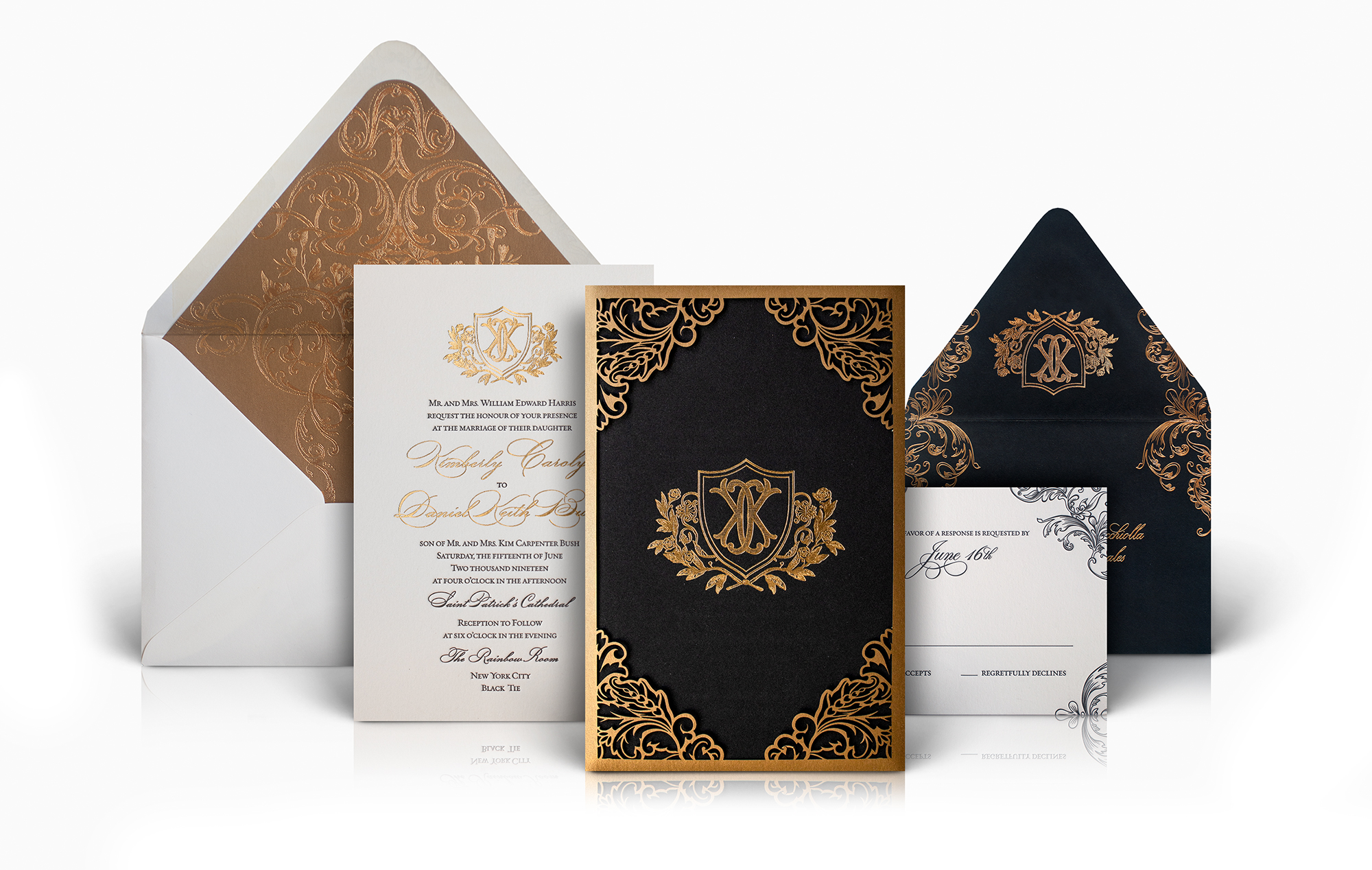 Classic laser cut wedding invitation