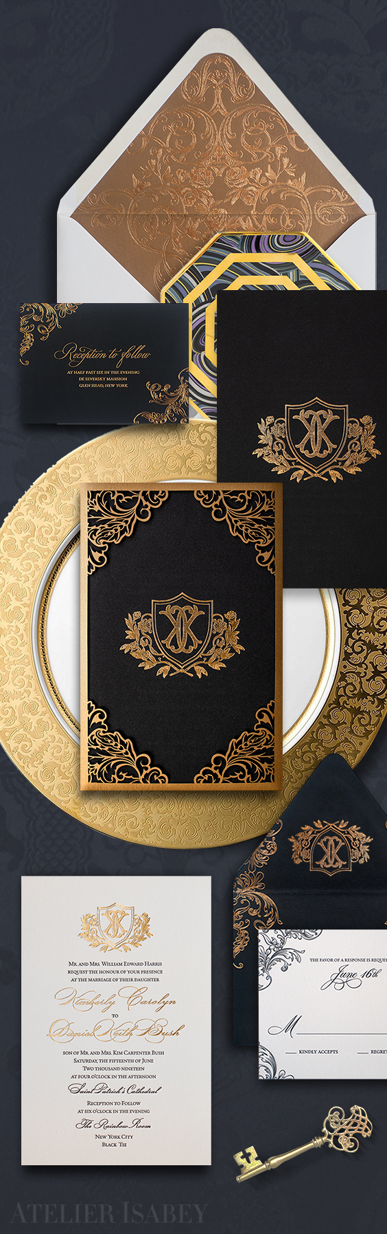 Ornate black and gold wedding invitation