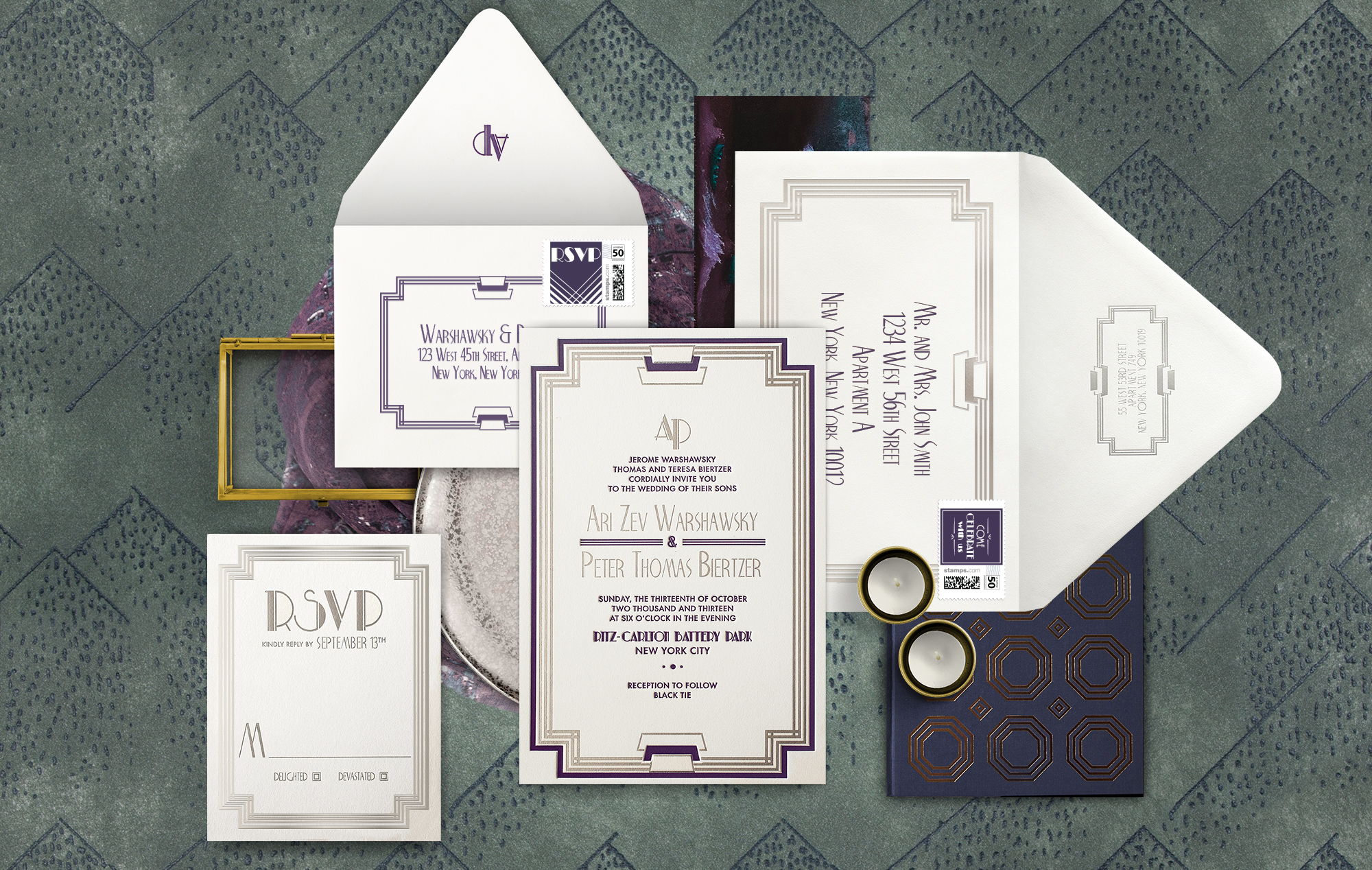 Empire State Building inspired wedding invitation